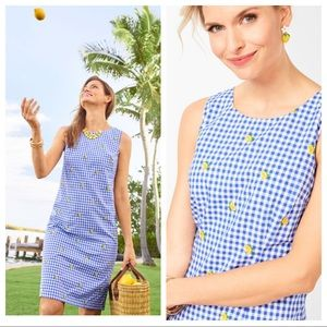 Talbots Embroidered Lemons & Gingham Shift Dress